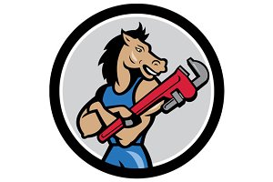 Horse Plumber Monkey Wrench Circle