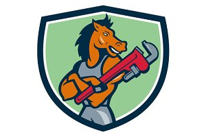 Horse Plumber Monkey Wrench Crest