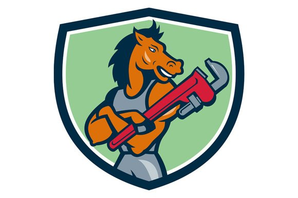 Horse Plumber Monkey Wrench Crest in Illustrations