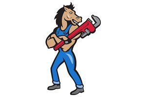 Horse Plumber Monkey Wrench Standing