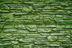 Green stone brick wall texture
