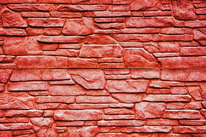 Red stone brick wall texture