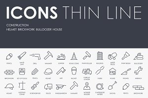 Construction thinline icons
