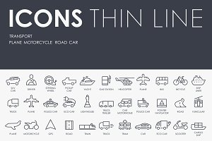Transport thinline icons