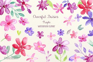 Watercolor Cheerful Daisy Purple