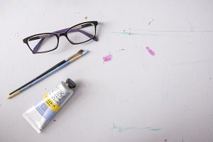 Paint and Glasses - Flat Lay