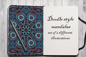 Doodle style mandalas set