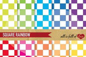 Rainbow Checkered Digital Paper