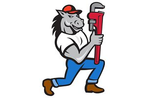 Horse Plumber Kneeling Monkey Wrench