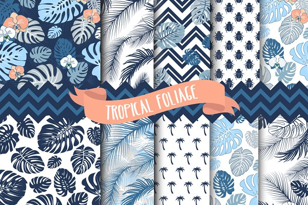 Tropical Leaves Seamless patterns