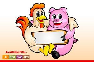 Chicken & Pig Mascot