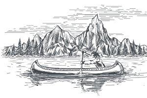Native american in canoe boat
