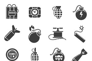 Bomb and explosives icons