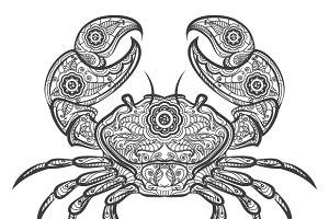 Crab zentangle icon
