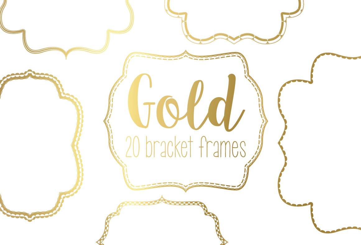 Gold Bracket Frame Bundle ~ Graphics ~ Creative Market