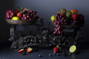 Still life of fruit on the scale