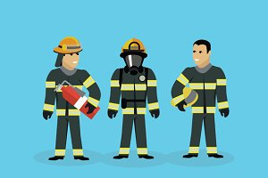 Firefighters Team People