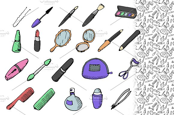 Cosmetic set. Hand drawn vector.