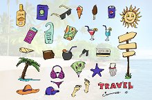 Doodle travel icons set. Vector.