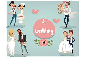 set with 4 wedding couples