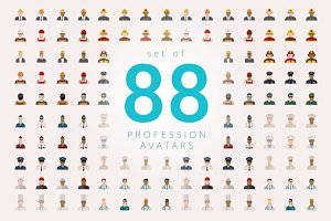Set of 88 Profession Avatars Flat