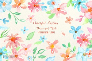Watercolor Cheerful Daisy Peach Mint