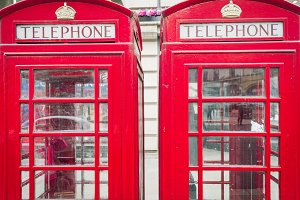 Red PHONE BOOTHS in England, UK