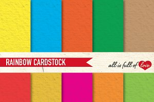 Rainbow Cardstock Digital Paper Pack