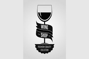 Wine shop logo with glass with wine