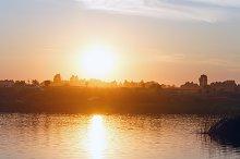 Sunset lake view.