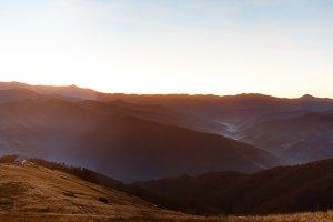 Early dawn mountains panorama.