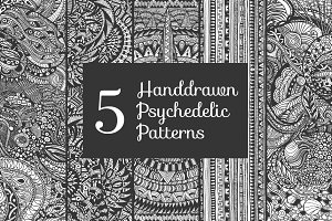 5 handdrawn psychedelic patterns