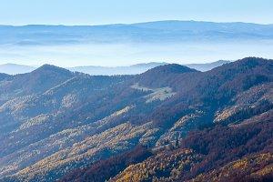 Fog in autumn Carpathian.