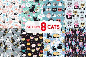 8 Fun bright patterns with cats
