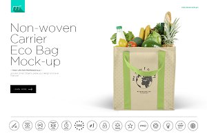 Non-woven Carrier Eco Bag Mock-up