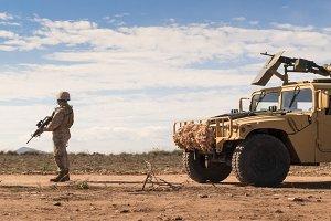 Marine patrols soldiers
