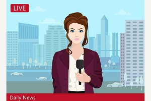 Young woman TV news reporter.