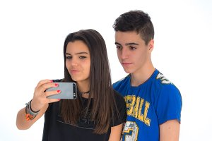 Teenagers couple by making selfies V