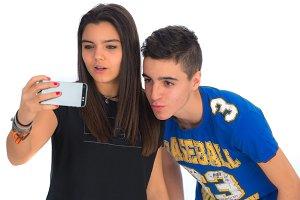 Teenager couple by making selfiesIV