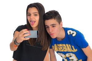 Teenager couple by making selfiesIII