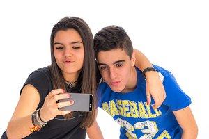 Teenagers couple by making selfiesII
