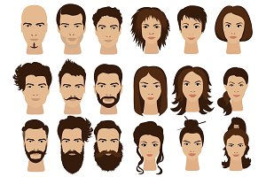 Man hair &  woman girls faces icons.