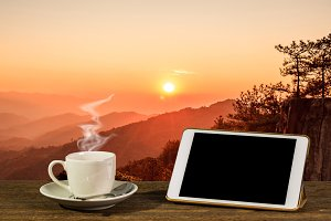 Coffee and tablet for your ads