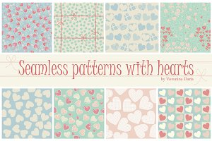 8 Seamless patterns with hearts