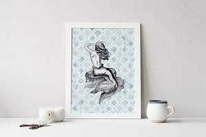 Black & White Mermaid Wall Art Print
