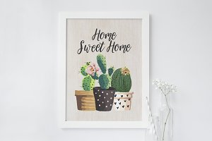 Home Sweet Home Cacti Wall Art Print