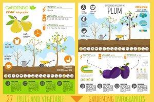Gardening infographic big set
