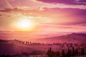 Tuscany landscape at sunset.