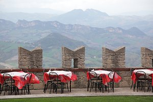 Empty summer cafe in San Marino castle, Europe