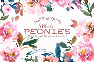 White Peonies- Watercolor Floral Set